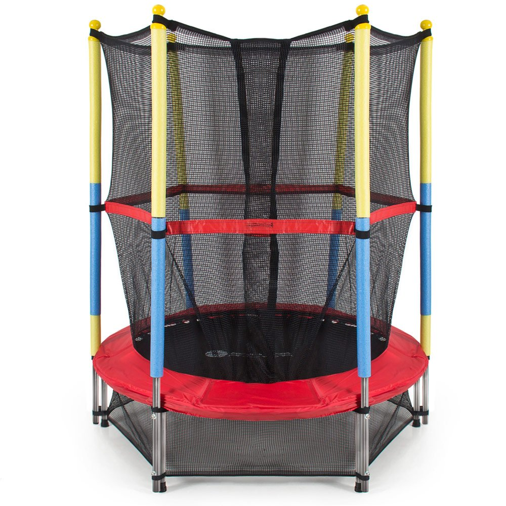 Cosway 55 Round Kids Mini Round Springy Trampoline, 1.4m Fun Family Playground Equipment Dual Feet w Enclosure Net Pad Rebounder Outdoor Exercise US Stock