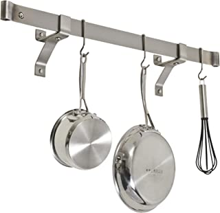 product image for Enclume Premier 36-Inch Rolled End Bar, Wall or Ceiling, Pot Rack, Use with Wall Brackets or Captain Hooks, Stainless Steel