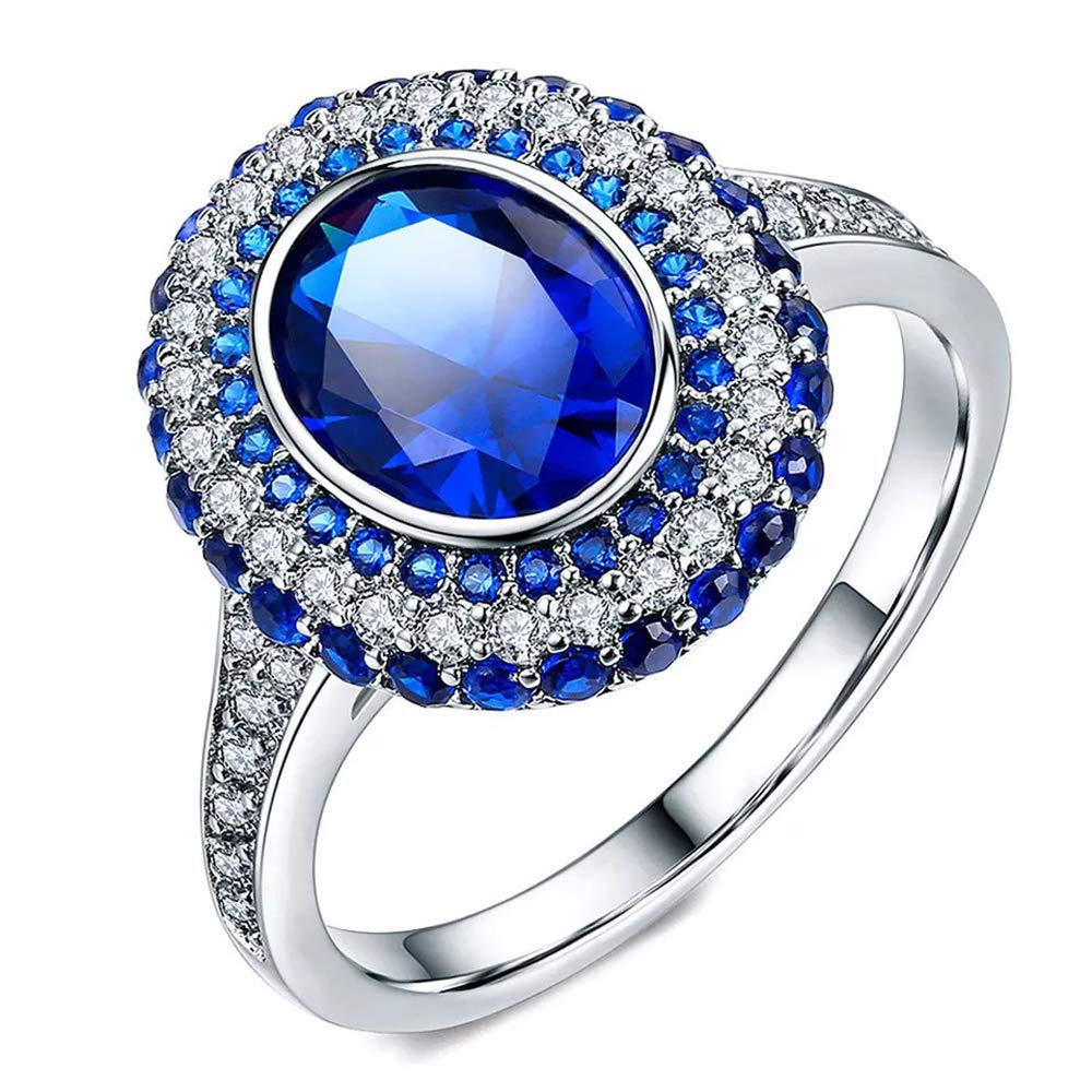 Vogzone Simulated Sapphire Blue Cubic Zirconia Engagement Wedding Band Platinum Plated Halo Set Eternity Promise Ring for Her