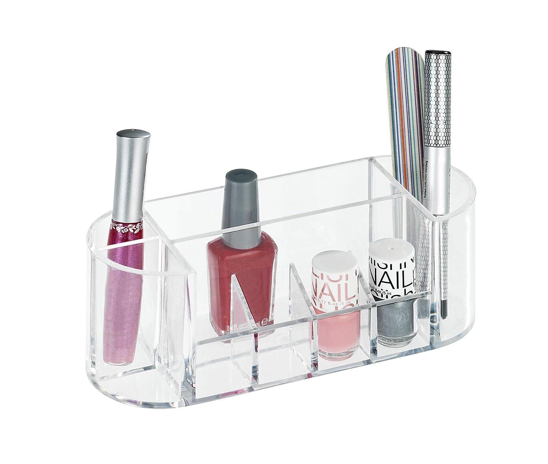 Transparent Acryl 22.5 x 8 x 12.5 cm Kunststoff mit 16 Aufteilungen Wenko 20986100 Kosmetik Organizer Femme