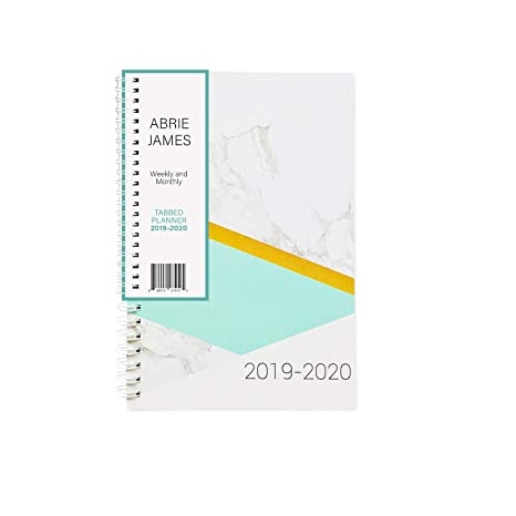 Abrie James Planner 2019-2020 Monthly Weekly Academic Planner, 5.5x8 inches, Marble Teal Student Planner