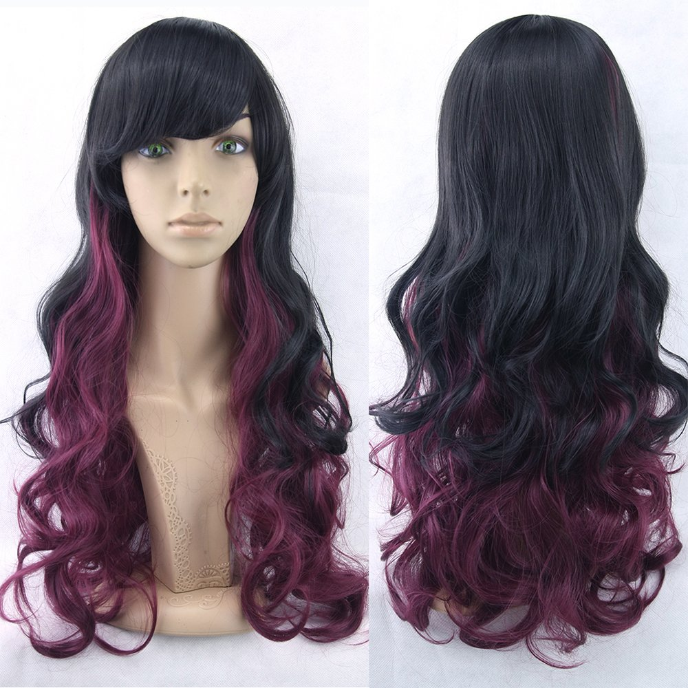 Amazon.com : 70Cm Long Women Hair Ombre Color High Temperature Fiber Wigs Pink Blue Synthetic Hair Cosplay Wig Peruca Pelucas T27/30/4 28inches : Beauty