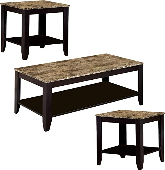 Amazon Com Benzara Brown Wood And Faux Marble Coffee Table Set