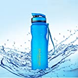 Qrity 1000ml/1L Sport Water Bottle, Wide Mouth Leak Proof Food Grade Plastic Drink Beverage Water Bottles for Running, Camping, Hiking, Biking, Travel, Gym, Outdoor Sport