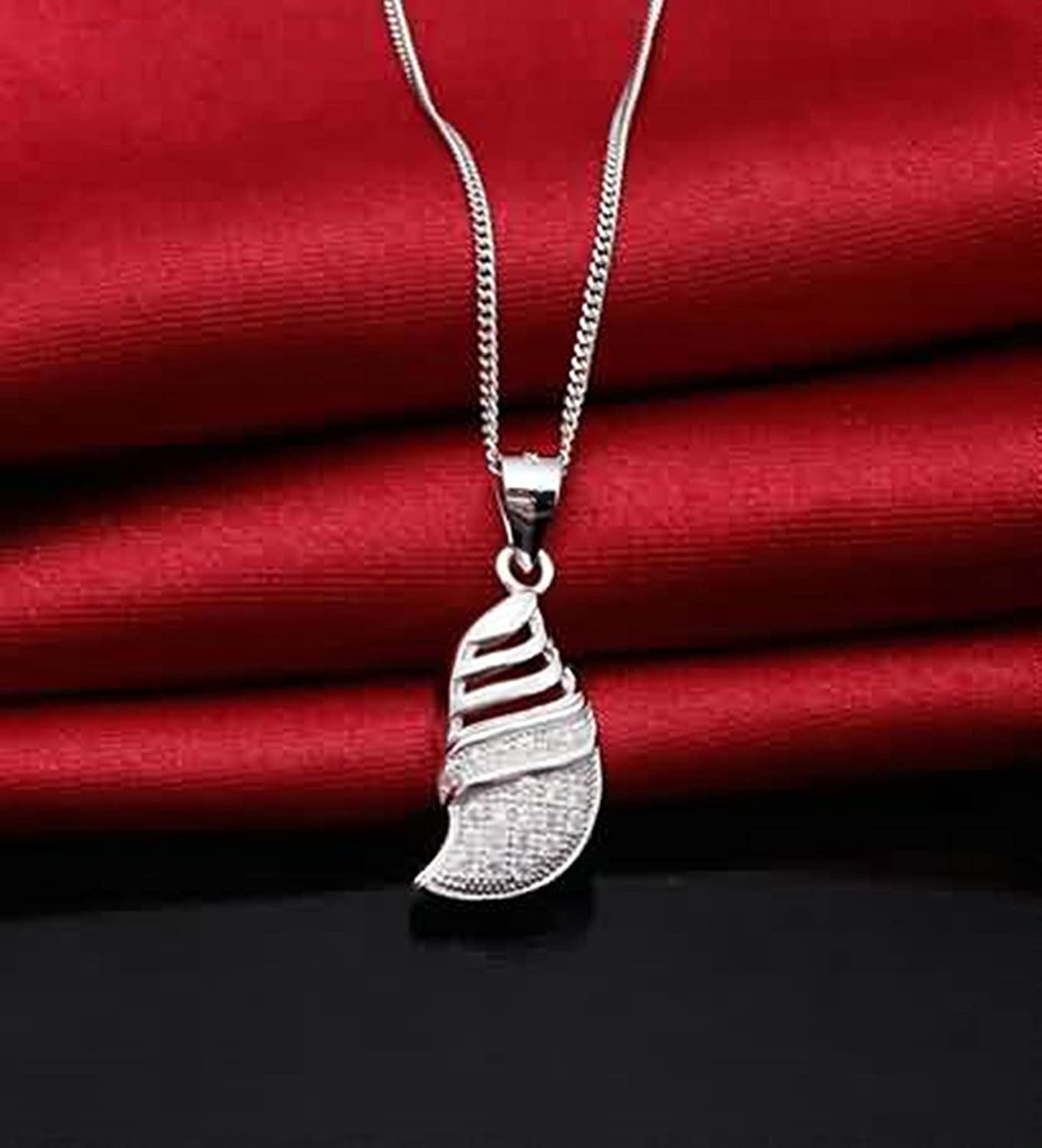 Aokarry Womens S925 Silver Pendant Necklace CZ Geometry White
