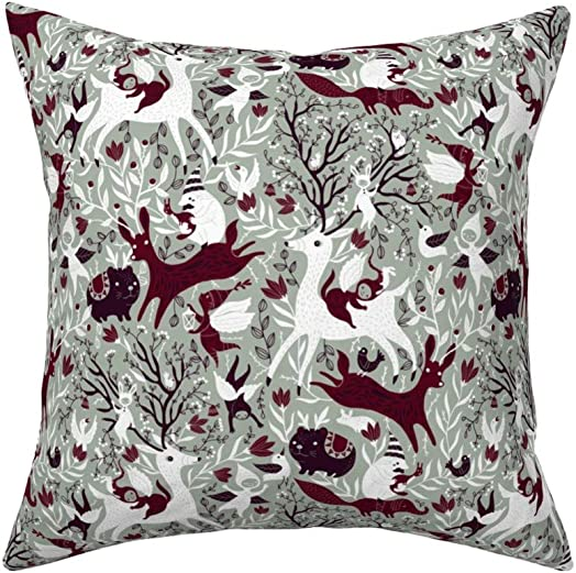 Roostery Throw Pillow, Woodland Christmas Holiday Angels Elves Elegant Winter Print, Linen-Cotton Canvas, Knife Edge Accent Pillow 18in x 18in with Insert