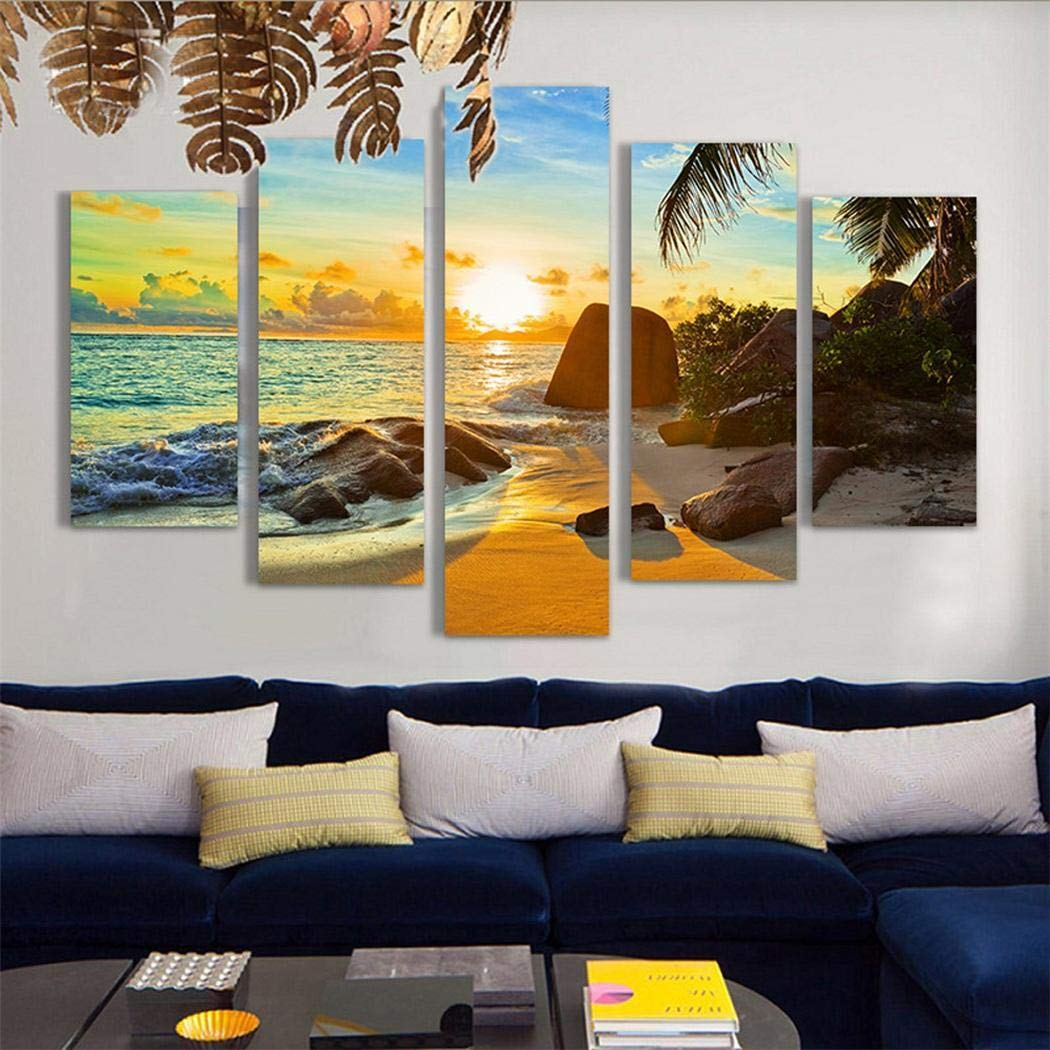 fnemo Wall Art Painting,5Pcs//Set Modern Frameless Canvas Painting Print Home Room Art Wall Decoration