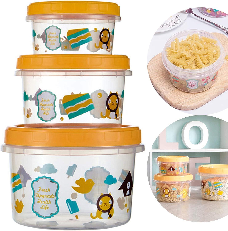 Crujiente De Plástico Transparente Con Tapa De Rosca Para Alimentos Hermetico Potes Recipiente Para Almacenar Alimentos Tapa Para Refrigerador De Horno De Microondas Cocina Conjunto De 3 Piezas
