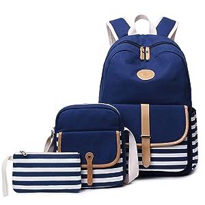 FLYMEI Canvas Backpack, Lightweight Blue Travel Backpack for Boy, Daypack Casual Back Pack with Shoulder Bag, Laptop Bag, Backpack for School Teenager Girl