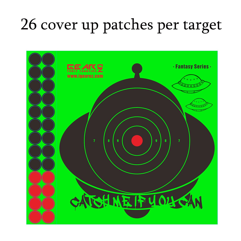 Neon Green Adhesive UFO Paper Shooting Splatter Targets-10\