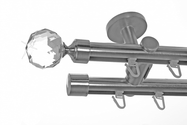Innenlauf Gardinenstange Edelstahl Look 20mm Deckenbefestigung, 2-läufig Kugel Kristall, Länge wählbar D40 E87E30, Länge 280 cm