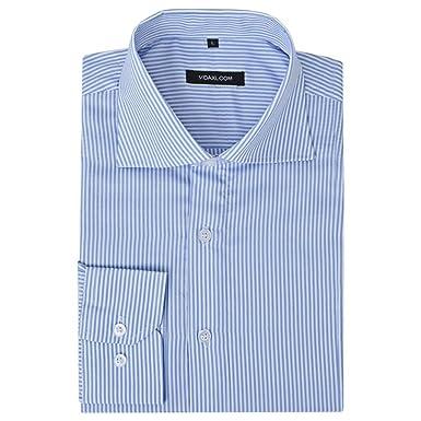 vidaXL Camisa de Vestir Hombre Formal/Casual Talla S-XXL Rayas ...