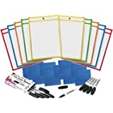 Charles Leonard Reusable Clear Dry Erase Pockets Class Combo Pack, Includes 10 Each of Pockets/Markers/Cloth Erasers (29130)