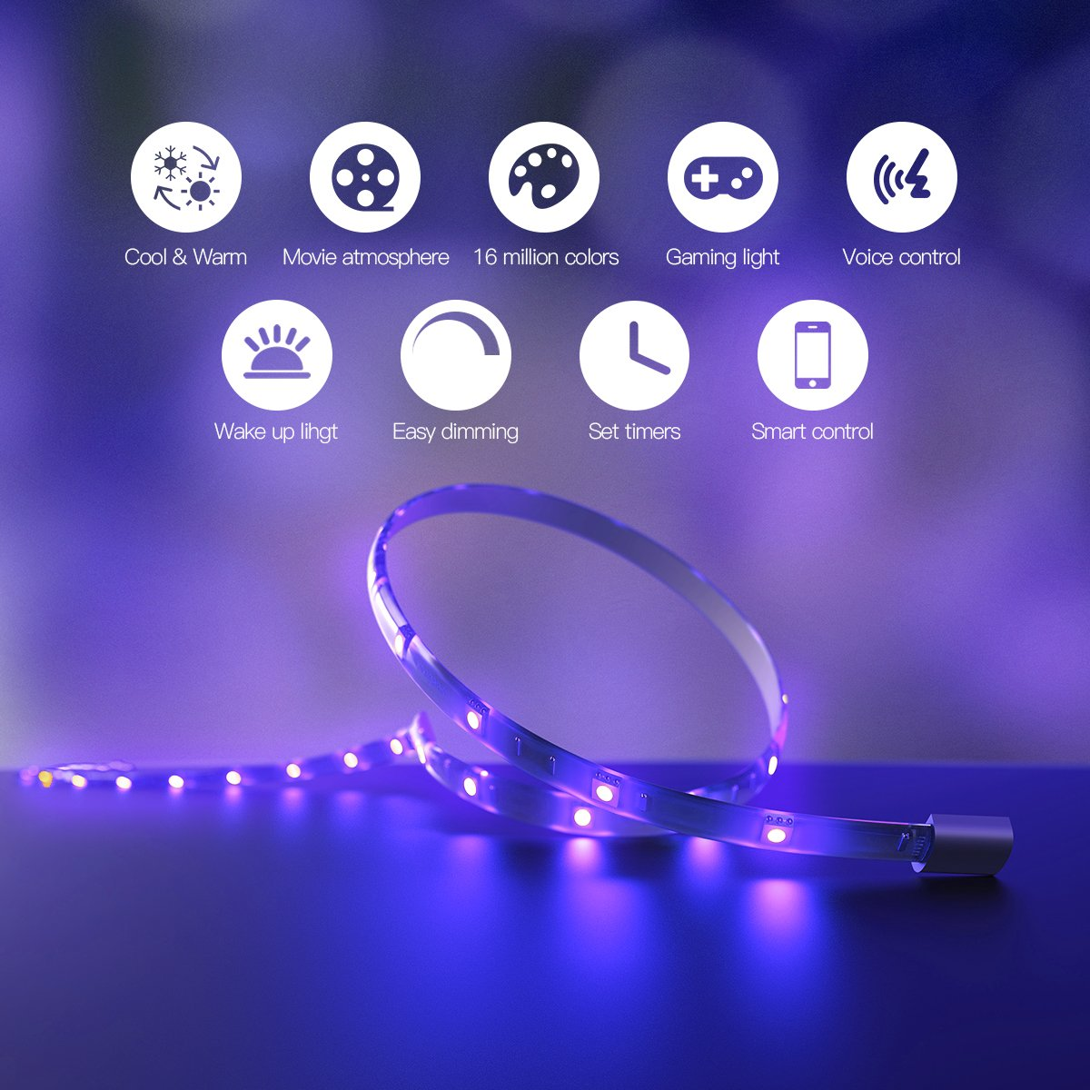 Koogeek Dimmable Smart LED Light Strip, Siri Timer Remote Control, 16000K Colors USB Powered 2m Compatible with Apple HomeKit, Android, Alexa, Alexa Echo and Google Assistant on 2.4Ghz by Koogeek (Image #2)