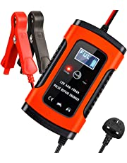 Aibeau Car Battery Charger, Smart Battery Charger & Maintainer, Automatic 5A 12V Fully Car Charger with LCD Screen for Charging, Maintaining And Repairing Battery for Kinds of Vehicle, Orange