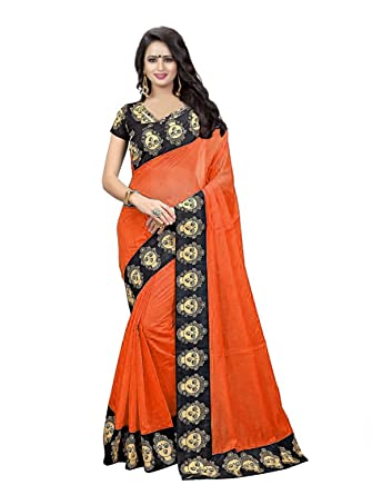 f8c5a15ec9 Online Bazaar Women's Chanderi Cotton Kalamkari Border Sarees With blouse  piece (Orange)