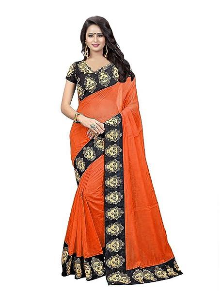 b42741aca0e3be Online Bazaar Women s Chanderi Cotton Kalamkari Border Sarees With blouse  piece (Orange)