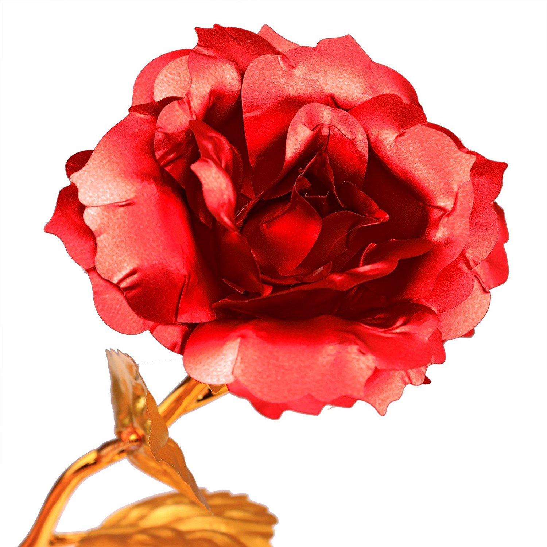 Hoja de oro 24K Rosa, Flores artificiales de Rose Con soporte de exhibición en caja de regalo, El mejor regalo para el día de San Valentín, día de la madre, ...