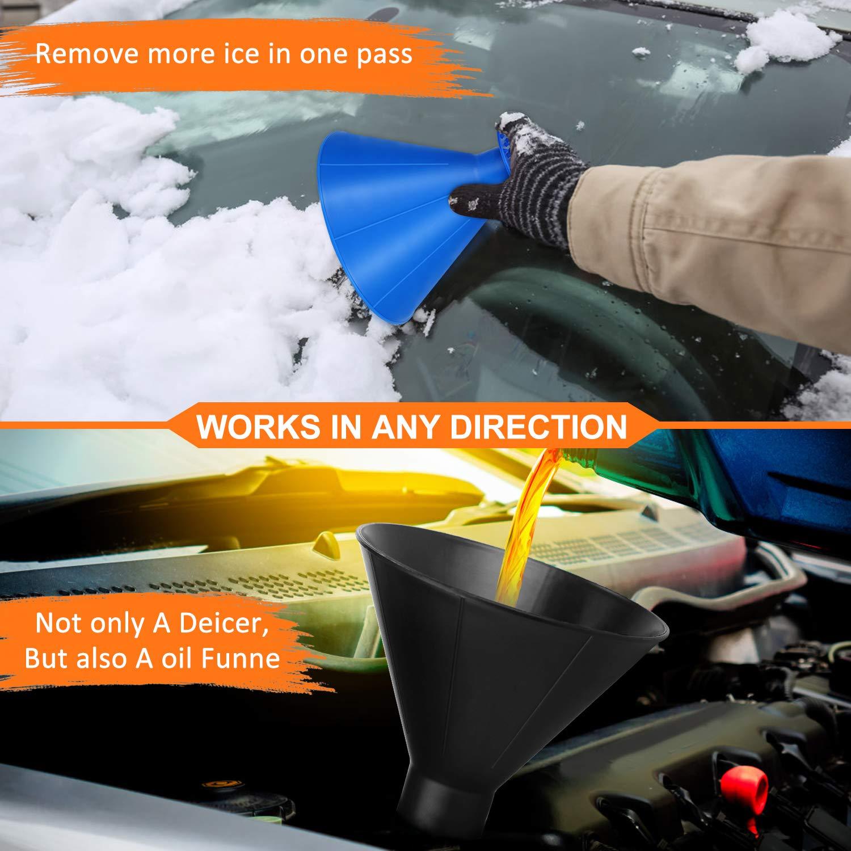 Camiones rascador de Nieve raspador de Hielo Powerjc Magical Car Ice Scraper para Todos los Coches rascador de Nieve para Coche rascador para Coche 2 en 1 de Aceite Embudo Pala de Nieve