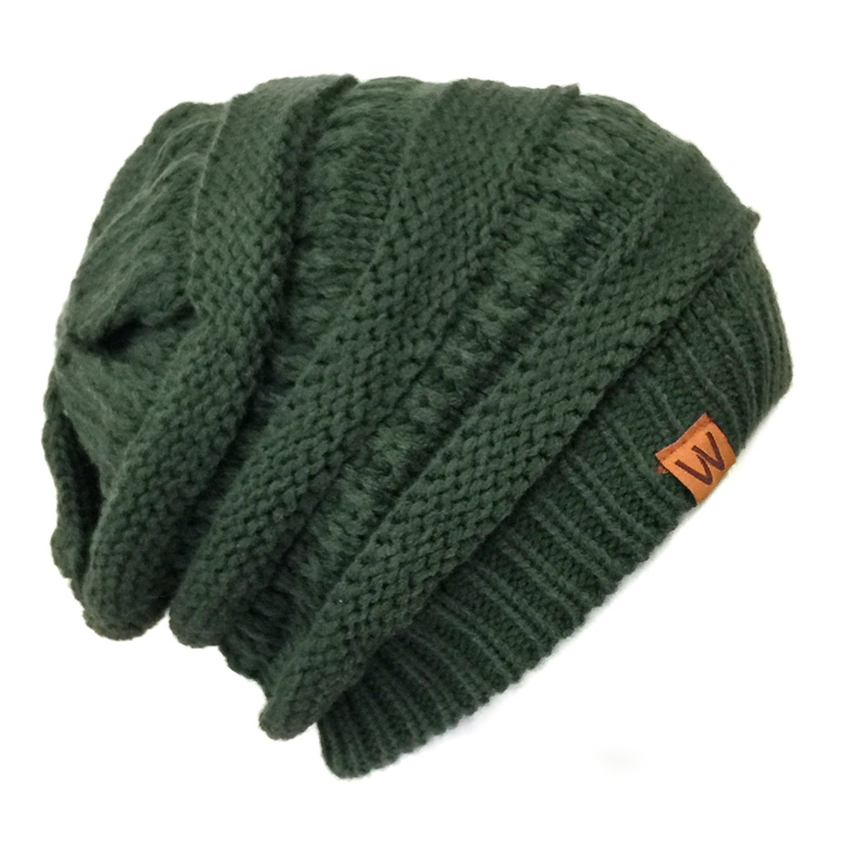 ALLYDREW Winter Thick Knit Beanie Slouchy Beanie for Men & Women Black