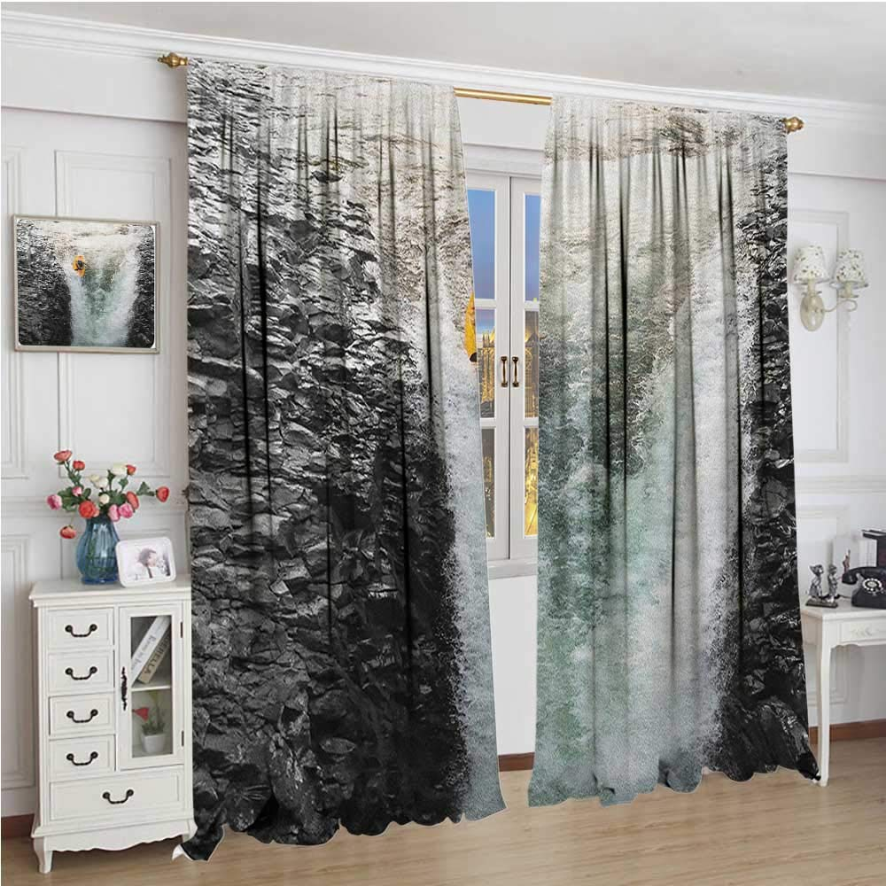Bedding Linen Cobedecor Waterfall Decor Curtains Majestic Waterfall Blocked With Massive Rocks With Moss On Them Photo Noise Reducing 55 Wx39 L Green Black And White Brigs Com