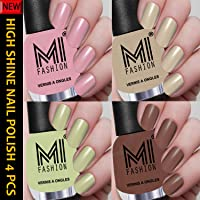 MI Fashion Ultra Shine Nail Polishes Combo of 4 Nude Shades for Every Skin Tone 12ml each (Nude Pink, Base Nude, Mint, Brown Nude)