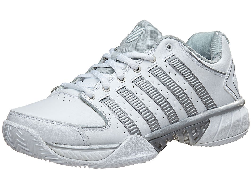 K-SWISS Hypercourt Express Leather Ladies Tennis Shoe, White/Grey, US8.5