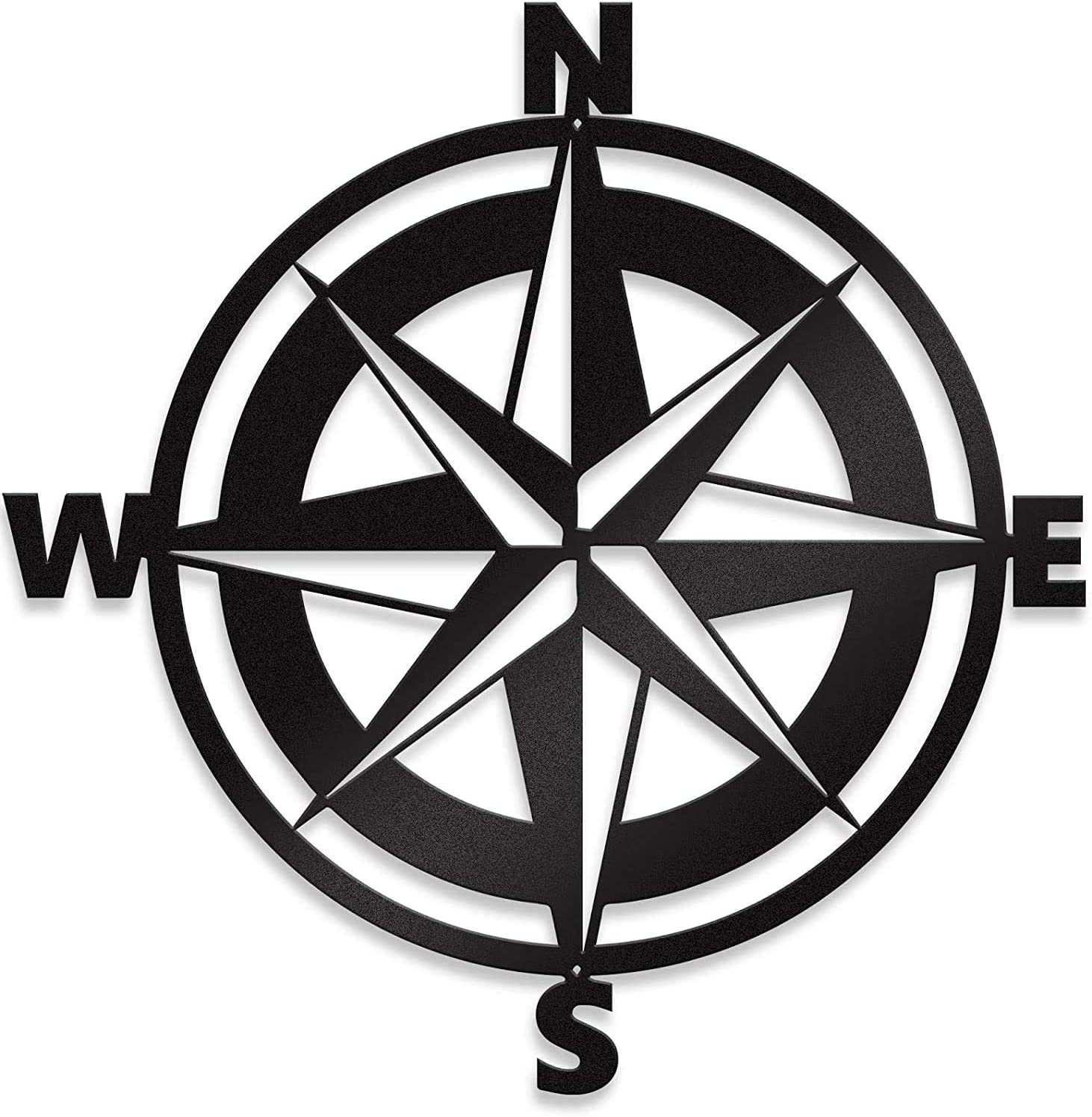 "Steel Roots Decor Nautical Compass Metal Wall Art & Room Decor - Nautical Decor Hanging Wall Decor for Home - Metal Farmhouse Decor Indoor or Outdoor Sign - (18"" Black, Metal)"