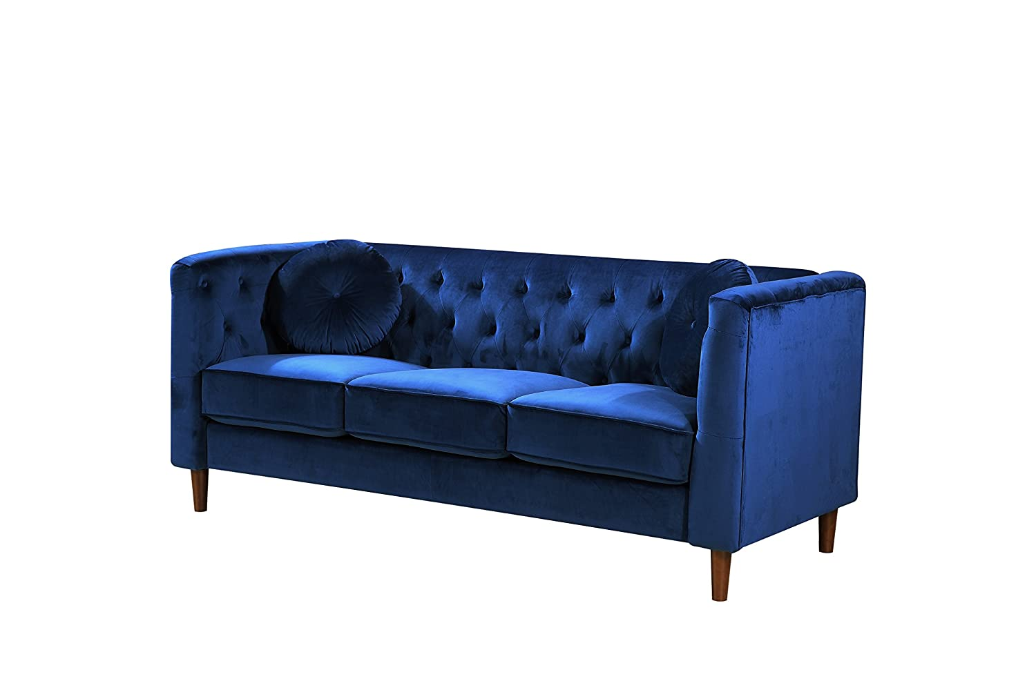 Container Furniture Direct S5373-S Kitts Velvet Upholstered Modern Chesterfield Sofa, 78