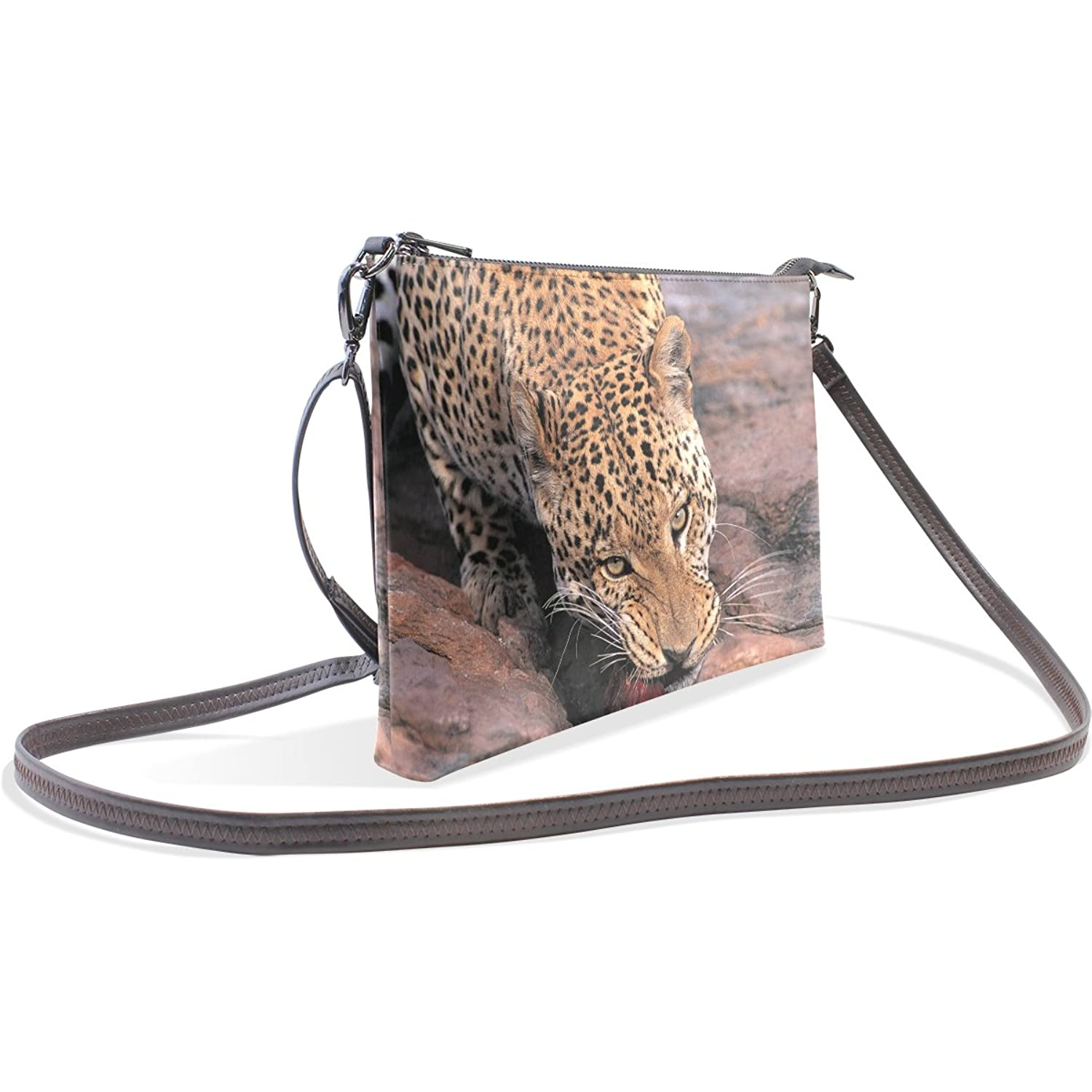 LEEZONE Women's Leopard Printing PV Leather Single Shoulder Bag