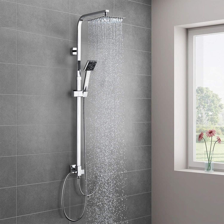Cromo BONADE Colonna doccia quadra con miscelatore termostatico con soffione 20X20 cm e doccetta