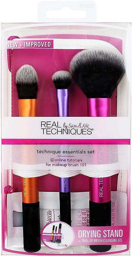 Real Techniques Travel Esencial Kit Básico de 3 Brochas - 1 Pack: Amazon.es: Belleza