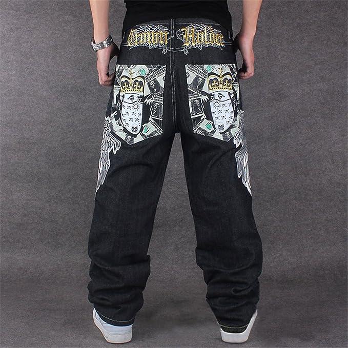 QIBOE Mens Vintage Hip Hop Wings Embroidery Baggy Loose Fit Jeans