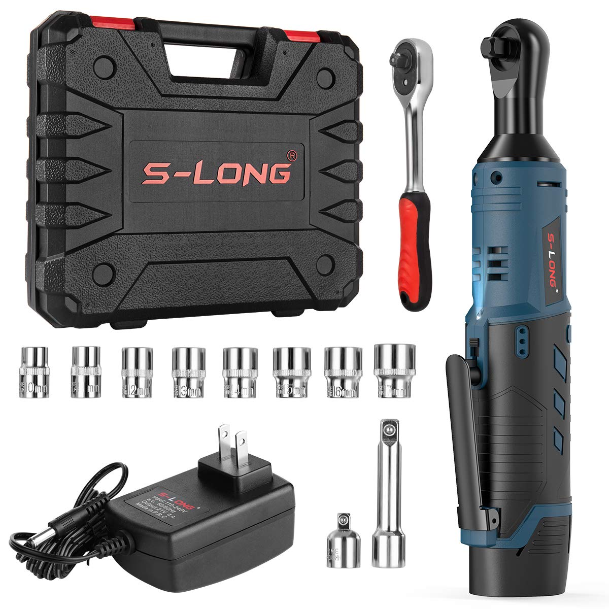 S-LONG 3 8 Cordless Ratchet Wrench 12V Power Electric Wrench Driver With 10 Sockets 2000mAh Lithium-Ion Battery And Charger