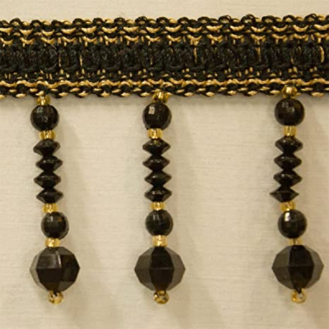 """UPHOLSTERY 5 Yards Bronze Color Beaded FRINGE 2/"""" Drop DRAPERY"""