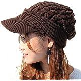 ノーブランド品 ツバ付き細ケーブルニット帽子ジープ 男女兼用 メンズ レディース