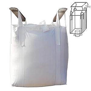 """Jumbulk Duffle Top Spout Bottom FIBC Bulk Bag, 1 One Ton Bag, 35""""L x 35""""W x 43""""H, 225 Gallons, 2200lbs SWL, Woven Polypropylene Bags (1)"""