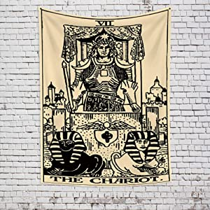 OFila Tarot Tapestry The Chariot Tarot Card Tapestry Mysterious Medieval Europe Divination Vintage Black and White Wall Hanging Tapestry for Home Bedroom Living Room Dorm Decor 27.6x39.4 Inch