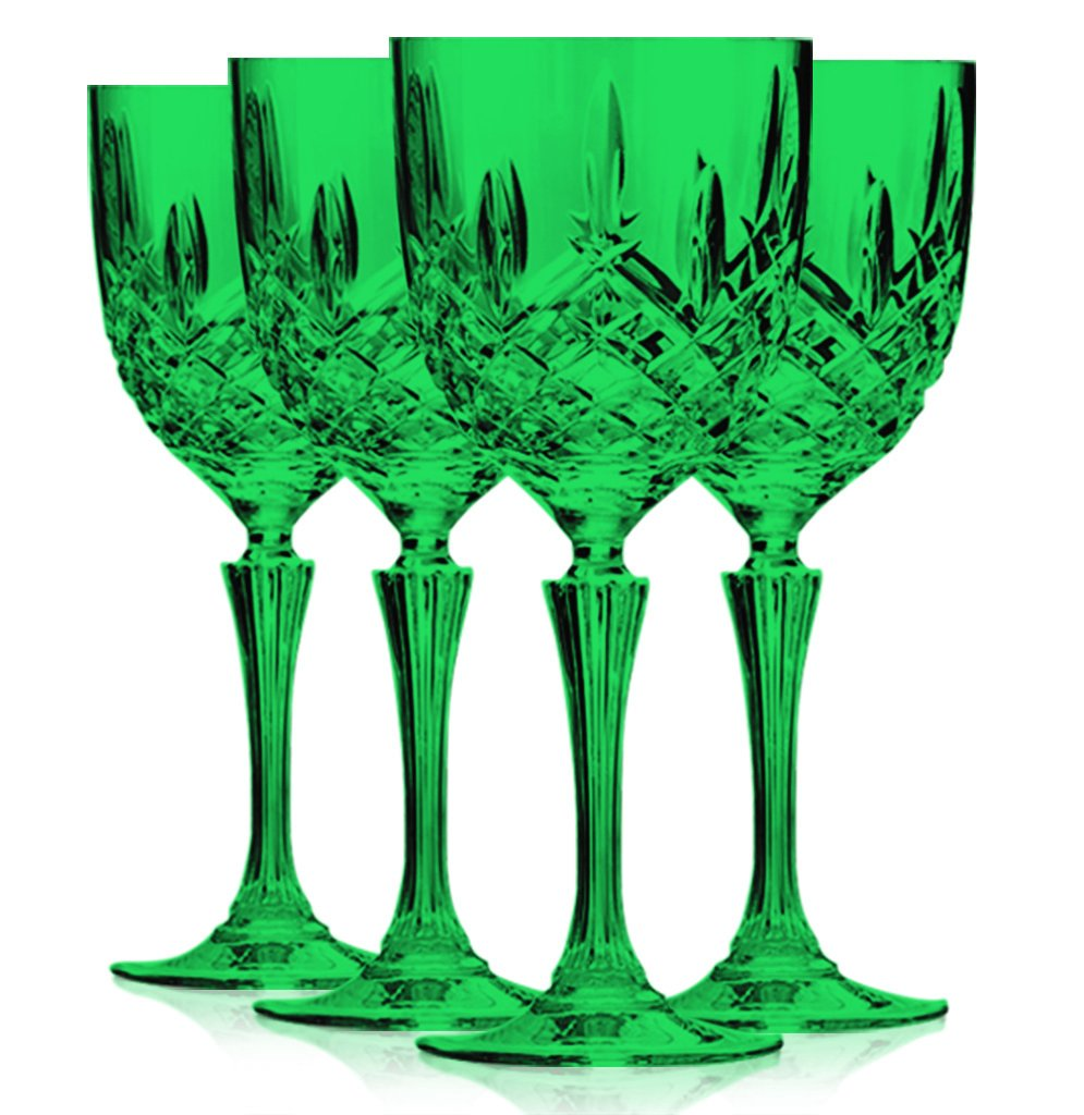 Christmas Tablescape Décor - Markham by Waterford HapWaterford emerald green crystalline wine glasses - Set of 4