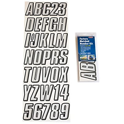 Hardline Products Series 800 Factory Matched 3-Inch Boat & PWC Registration Number Kit, Silver/Black: Automotive