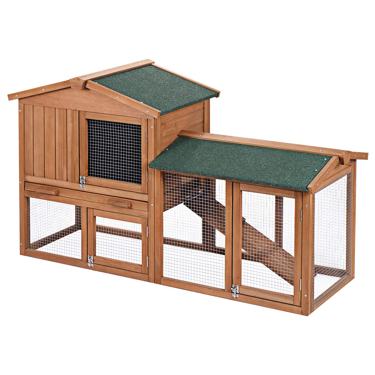 Tangkula 58'' Chicken Coop Large Wooden Outdoor Bunny Rabbit Hutch Hen Cage with Ventilation Door, Removable Tray & Ramp Garden Backyard Pet House Chicken Nesting Box