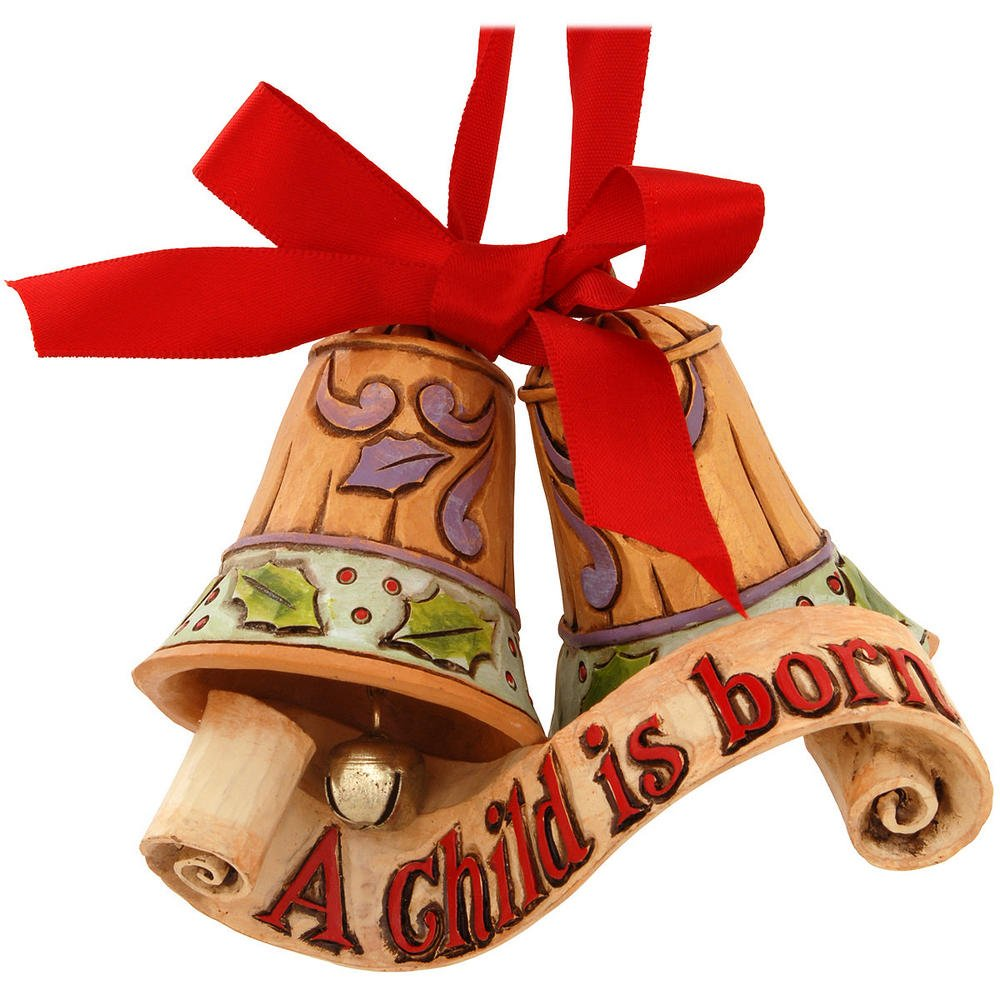 "Jim Shore Heartwood Creek Legend of Christmas Bells Stone Resin Hanging Ornament, 3"""