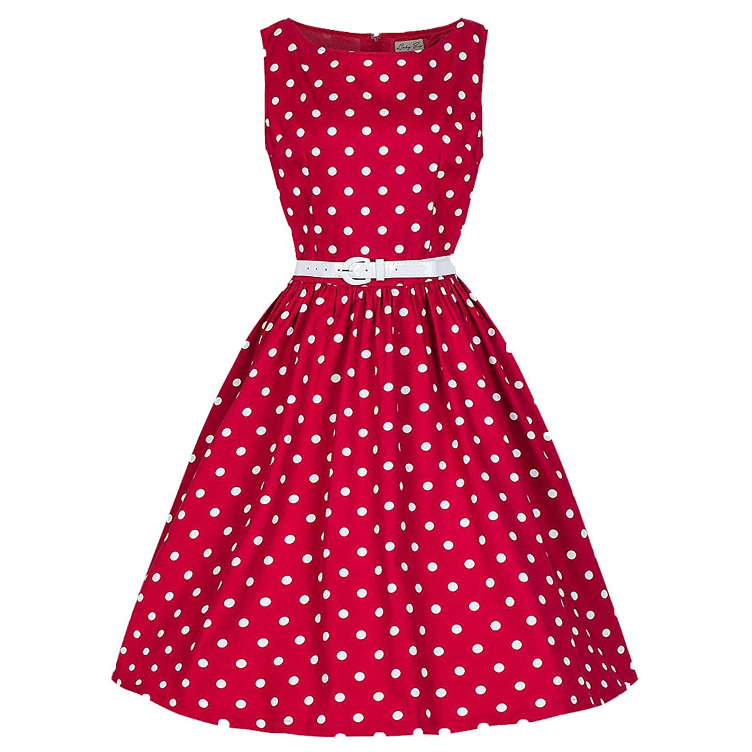Partiss Damen Frauen Elegant 60er Vintage Polka Dot Kleid Punkte A-Linie Guertel Damen Kleider Festlich Knielang Party Dress
