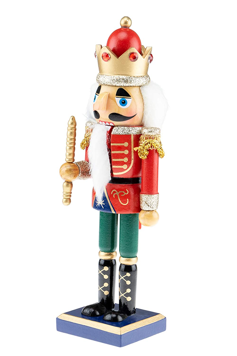 Festive Christmas Decor 10 Tall Perfect for Shelves Traditional Wooden Design Great for Any Collection Green Clever Creations Christmas King Nutcracker and Gold Uniform with Scepter Red