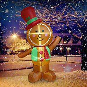 UNIFEEL 8ft Airblown Gingerbread Man Merry Christmas Inflatable Lighted Yard Decoration with Blower and Adaptor for Winter Indoor Porch Outdoor Decor