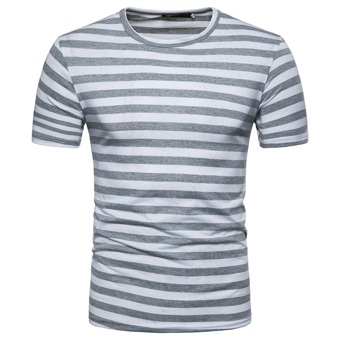 Qisc Mens Tops Men's Youth Short Sleeve Crew Neck Striped Color Block T Shirt Tee Outfits Tops (XXL, Gray)