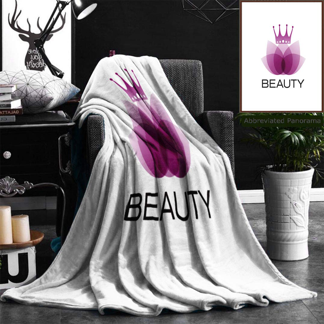 """Nalagoo Unique Custom Flannel Blankets Sign Purple Leaves And Crown Spa Yoga And Relax Concept Super Soft Blanketry for Bed Couch, Throw Blanket 50"""" x 60"""""""
