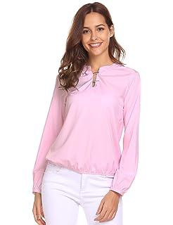 028d29dfd035 Imposes Damen Casual Bluse Langarm V-Ausschnitt T-Shirt Rüschen Tunika  Oberteile mit Knopf