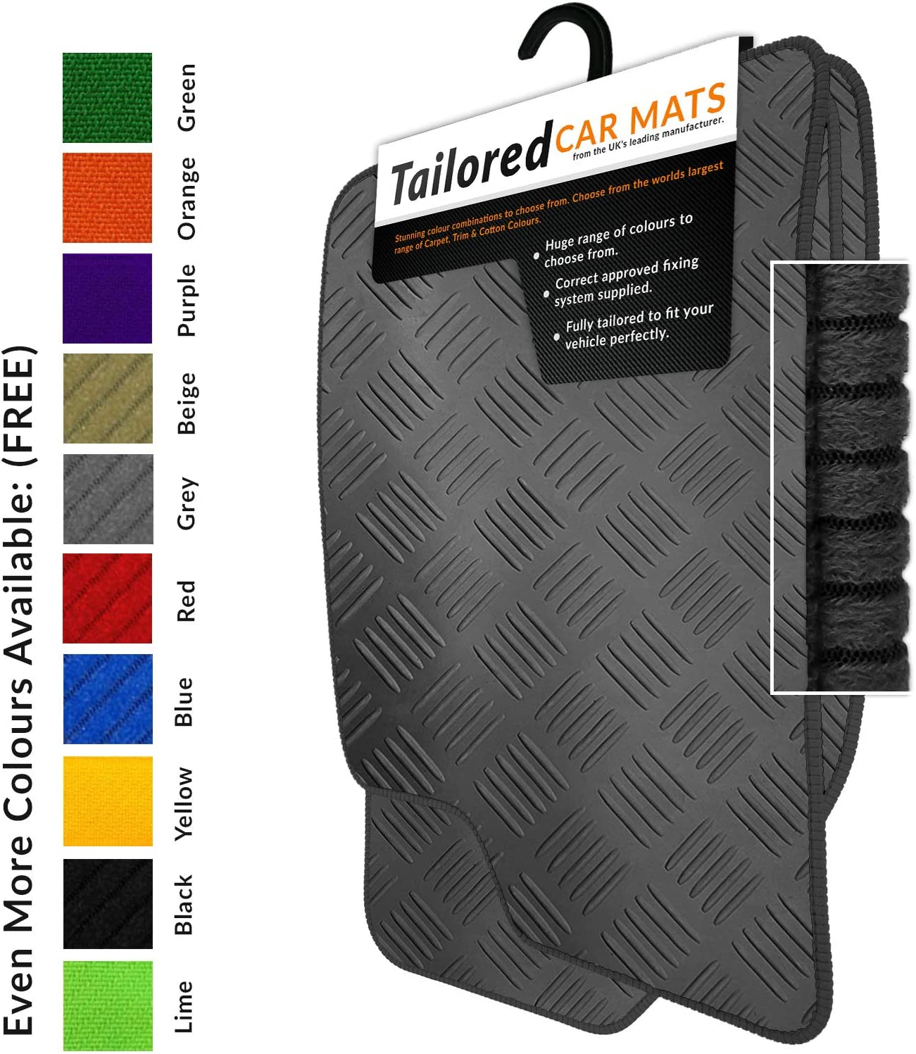Tailored Black Rubber Car Mats 2016+ 2104 Black Trim To fit F-Pace