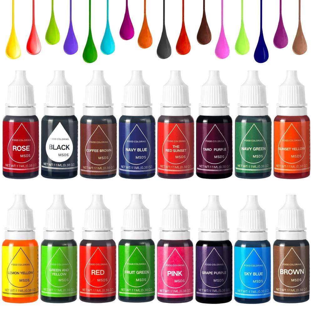 16 Color Food Coloring Set,Food Grade Bright Variety Cake Food Color Liquid Dye for Baking,Icing, Decorating, Fondant, Cooking, DIY Slime, Crafts - .35 fl. Oz (11 ml) Bottles Bullet